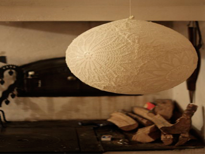 ساخت لوستر با پارچه توری